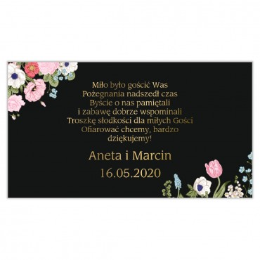 Etykiety na ciasto weselne Kwiatowe 11a