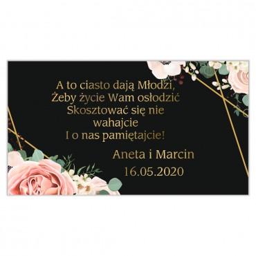 Etykiety na ciasto weselne Kwiatowe 12a