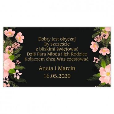 Etykiety na ciasto weselne Kwiatowe 14a