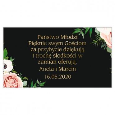 Etykiety na ciasto weselne Kwiatowe 15a