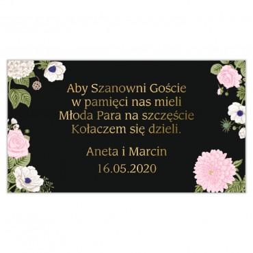 Etykiety na ciasto weselne Kwiatowe 23a