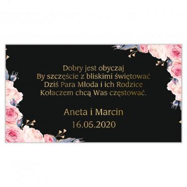Etykiety na ciasto weselne Kwiatowe 24a