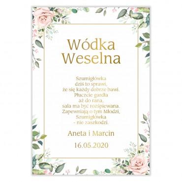 Naklejki na Wódkę Weselną Kwiatowe 08b