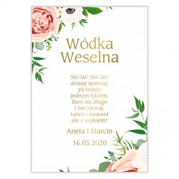 Naklejki na Wódkę Weselną Kwiatowe 15b