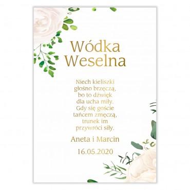 Naklejki na Wódkę Weselną Kwiatowe 16b