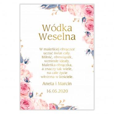 Naklejki na Wódkę Weselną Kwiatowe 24b
