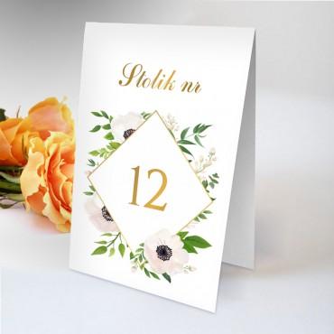 Numery stolików na wesele Kwiatowe 01B