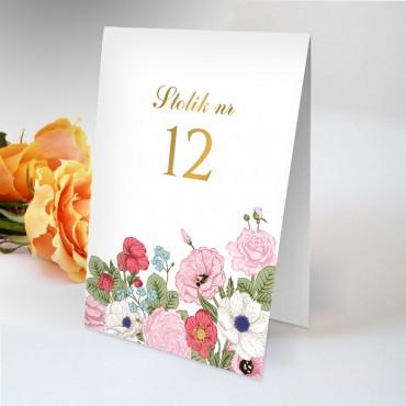 Numery stolików na wesele Kwiatowe 11B