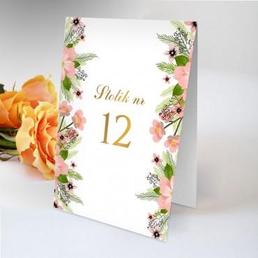 Numery stolików na wesele Kwiatowe 14B