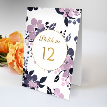 Numery stolików na wesele Kwiatowe 19B