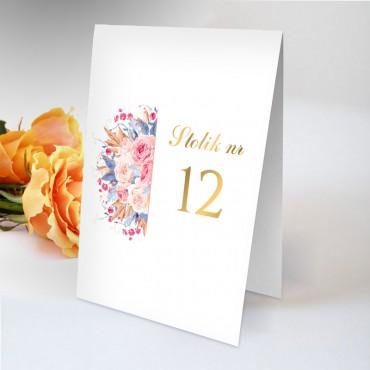 Numery stolików na wesele Kwiatowe 22B