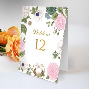 Numery stolików na wesele Kwiatowe 23B
